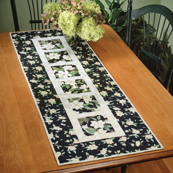 Garden path table runner quick card pattern by dragonfly for Table runner quilt design