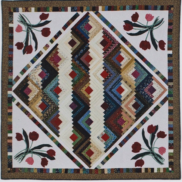 Log Cabin Tulips Quilt Pattern By Friendship Designs