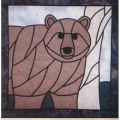 BEAR PATTERN STAINED GLASS*