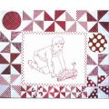 PLAYMATES QUILT-BLOCK 07 BOY WITH  TRAIN