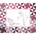 PLAYMATES QUILT-BLOCK 11 GIRL WITH CAT
