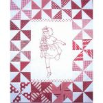 PLAYMATES QUILT-BLOCK 03 GIRL RUNNING WITH DOLL