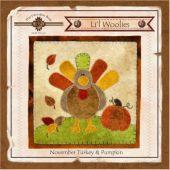 Li'l Woolies November Turkey & Pumpkin Wool Wall Hanging Pattern