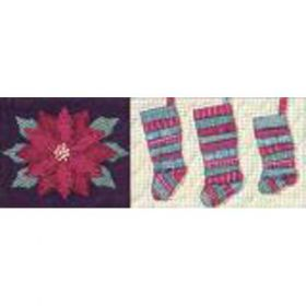 CELEBRATE THE SEASON #3 POINSETTIA, STRIIPED STOCKINGS