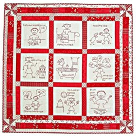 Mind Your Mama! Redwork Embroidery Quilt Pattern On Cd