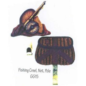FISHING CREEL, NET, POLE Quilt Hanger*