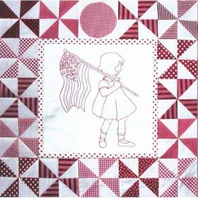 PLAYMATES QUILT-BLOCK 12 GIRL WITH FLAG