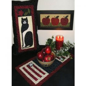 American Folk Art Cat-Apple-Flag Pattern