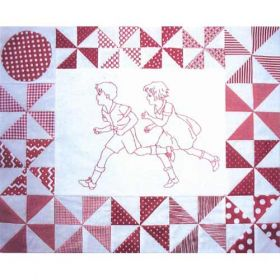 PLAYMATES QUILT-BLOCK 06 RUNNING BOY & GIRL