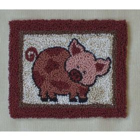 Pink Pig Punchneedle Embroidery Kit
