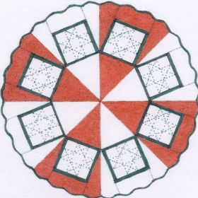 """TABLECLOTH/TREE SKIRT WITH 8 PANEL-12"""" QUILT PATTERN*"""
